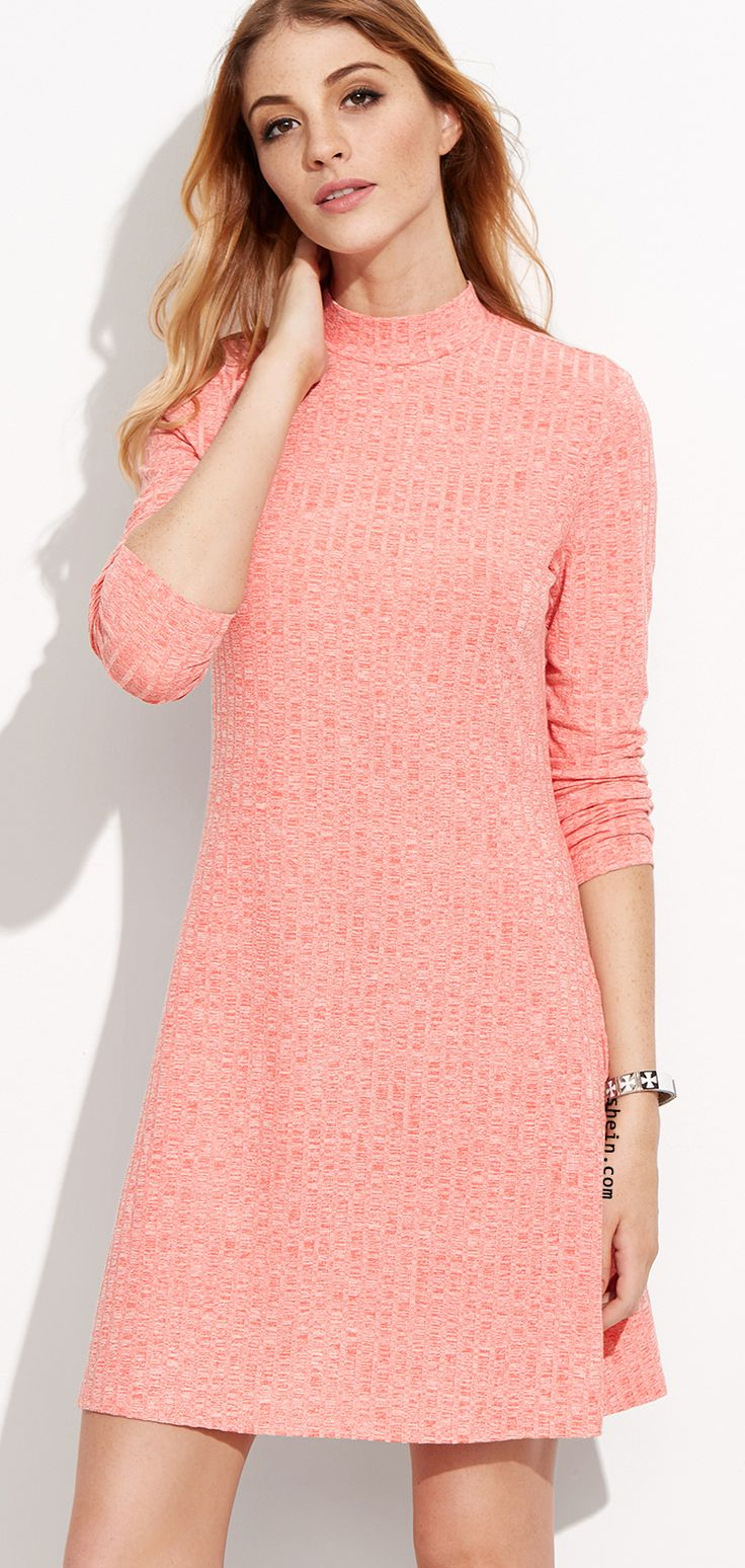 Pink, high neck, knit, a line tunic dress. Pink Ribbed Funnel Neck Short Dress from shein.com.