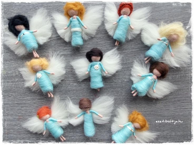 Needle felted little angels www.facebook.hu/esztiboltja