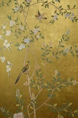 Chinoiserie hand painted wallpaper on Gold foil wallpaper from Yrmural Studio at http://www.yrmural.com