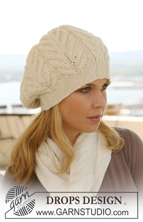 "Knitted DROPS Basque hat in ""Nepal"" with cables. Free Pattern!."