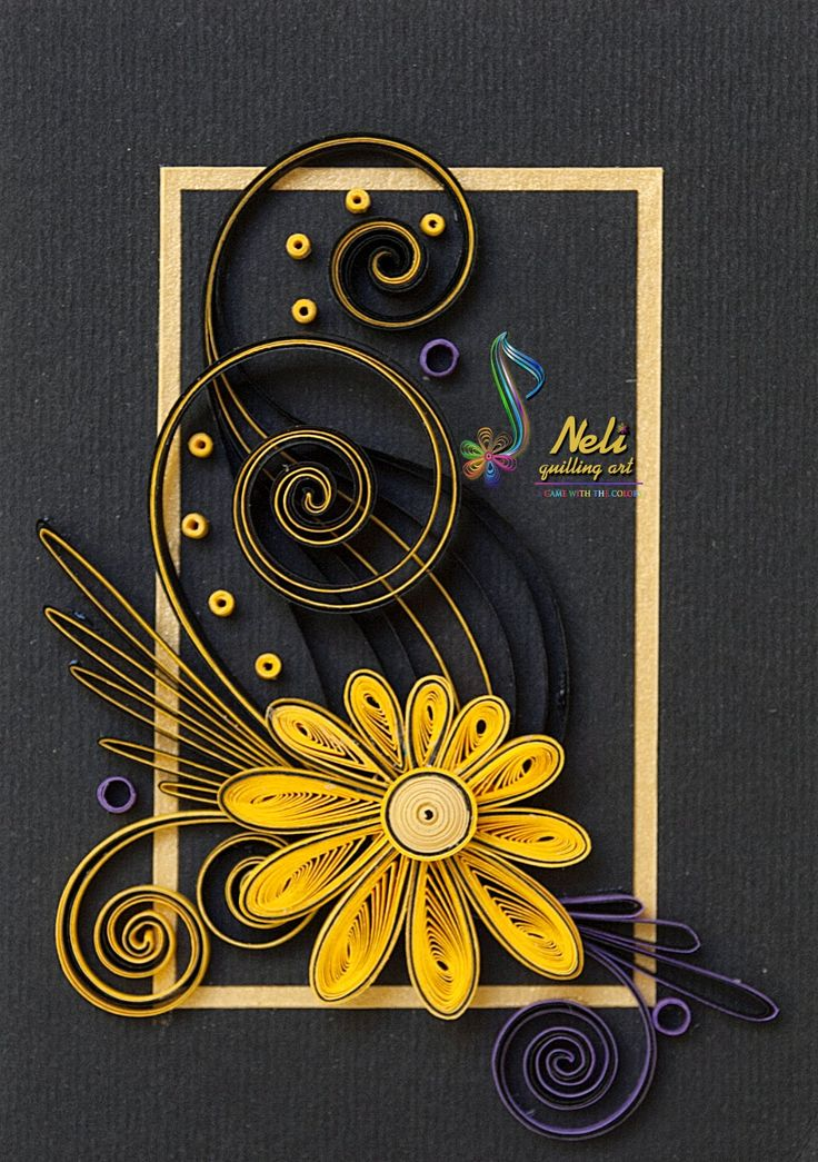 handmade card from neli: Quilling cards  ... black background with gold frame ... delight yellow daisy andflourishes ...