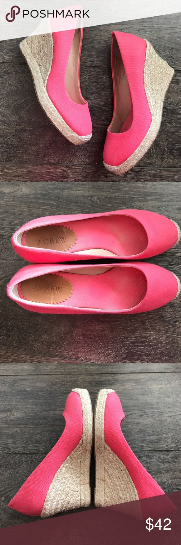 "J. Crew pink espadrille wedges EUC, very light wear, platform is .75"" and heel is 3"" tall, they are a springy pink:melon colored canvas J. Crew Shoes"