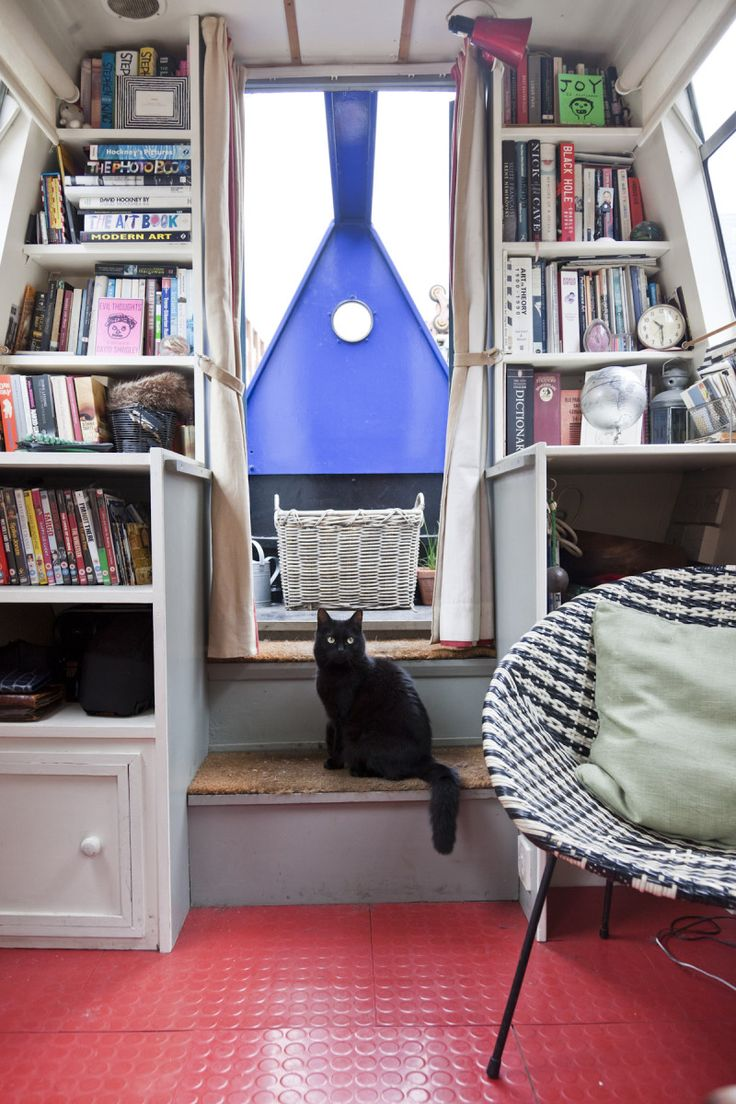 Hell yeah bookshelves- and a ship's cat. :D