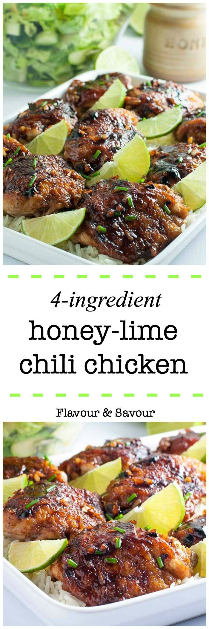 This recipe for 4-Ingredient Honey Lime Chili Chicken Thighs makes an easy weeknight meal. It's succulently sweet and spicy!  An easy one-pot dish. Simple instructions for how to sear chicken without having it stick to the pan! |www.flavourandsavour.com via @enessman