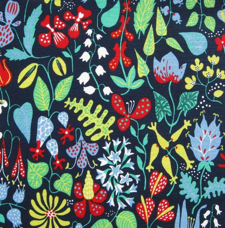 """Herbarium"" fabric designed by Stig Lindberg.47cm wide by 27cm longOriginally designed in 1947 for NK Textile Design Studios, ""Herbarium"" is a fabulous botanical print. Stig Lindberg (1916- 1982) is one of Sweden's most important post-war designers, famed for his playful, surrealist prints. Here is a piece of Scandinavian design history.This is a modern reprint. It is medium weight fabric, 50% linen and 50% cotton. A beautiful quality fabric, ..."