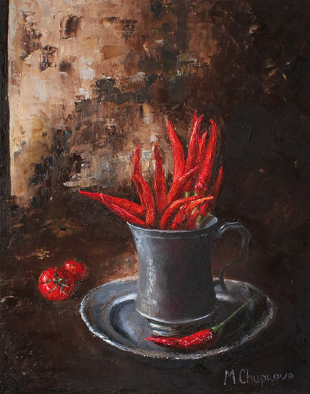 "Tomatoes-and-red-peppers-oil-painting ""Pepper flame"" (40*50 oil/canvas, 2015) ""Перченое пламя"" 40*50, холст/масло, 2015г  by Chuprova Margarita"