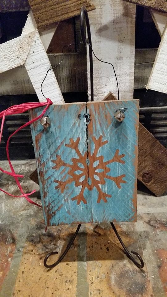 """RECYCLED WOOD PALLETS: Here are some Christmas ornaments for sale. They range in price from $3- $6. Message us if you are interested. These are ONE of a KIND! I can duplicate the design, but not the uniqueness of the wood boards. So act fast if you see something you love. The prices are listed under the descriptions. (For some perspective on height, they are all hanging on an ornament hanger that is 12"""" high. We are including the hook if you ask for it.) Item # 397"""