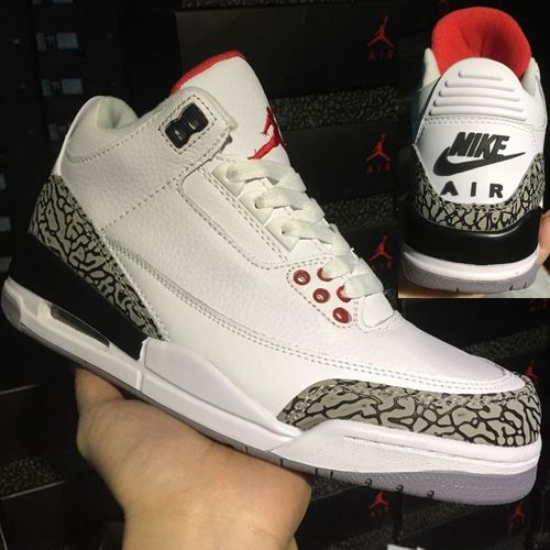 Nike Air Jordan Retro III 3 White Cement Black Varsity Red AAA