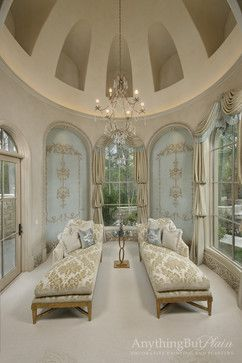 Elegant Sitting Room with Diamond Plaster Walls and Ceiling with Glazed Ornament Panels.