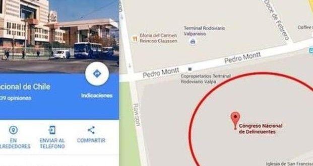 En Google Maps, la Legislatura de Chile se señala como el Congreso Nacional de Delincuentes – Panorama Rosario