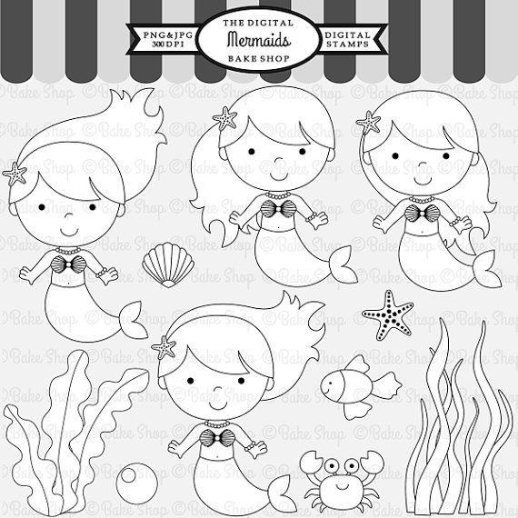 mermaid stamps clipart digital clip art - Under The Sea Digital Stamps