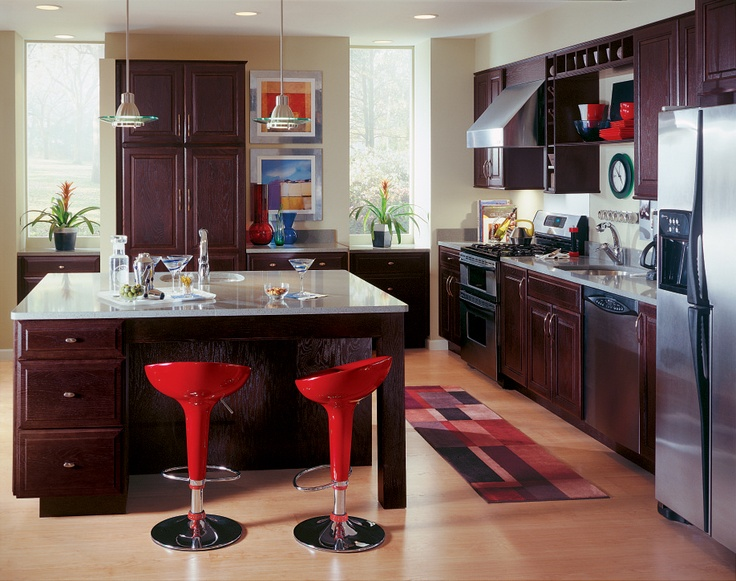 10 best images about contemporary style cabinets on for Chocolate kitchen cabinets with stainless steel appliances
