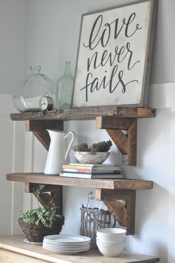 I love the hand-lettered look of this sign | love never fails | farmhouse sign | wall decor | afflink