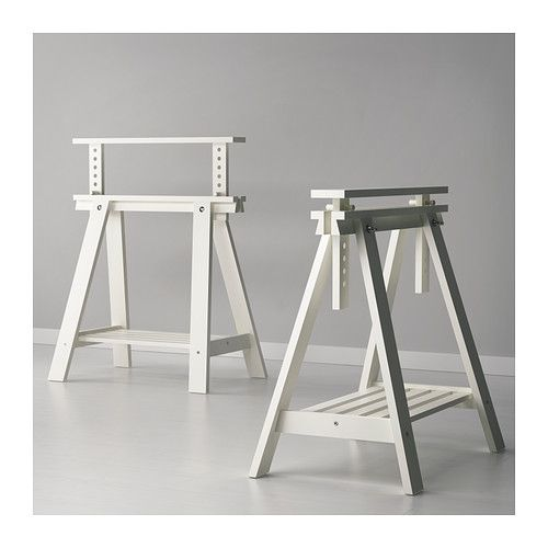 FINNVARD Trestle with shelf - white - IKEA: Yet another option for creating a desk space to hold up a hallow core wood door.