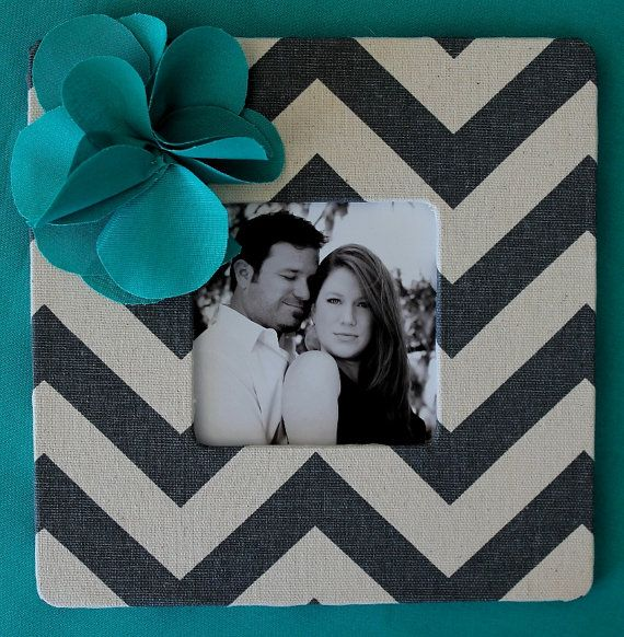 Grey Chevron Frame with a Turquoise Fabric by AnnaKayDesigns, $16.00