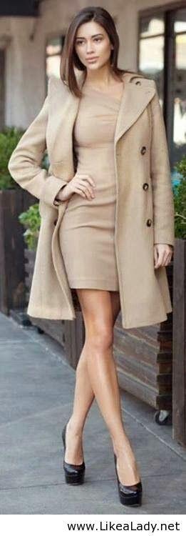 Beautiful nude coat with nude dress -classy