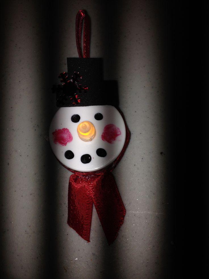 Tea light snowman christmas pinterest