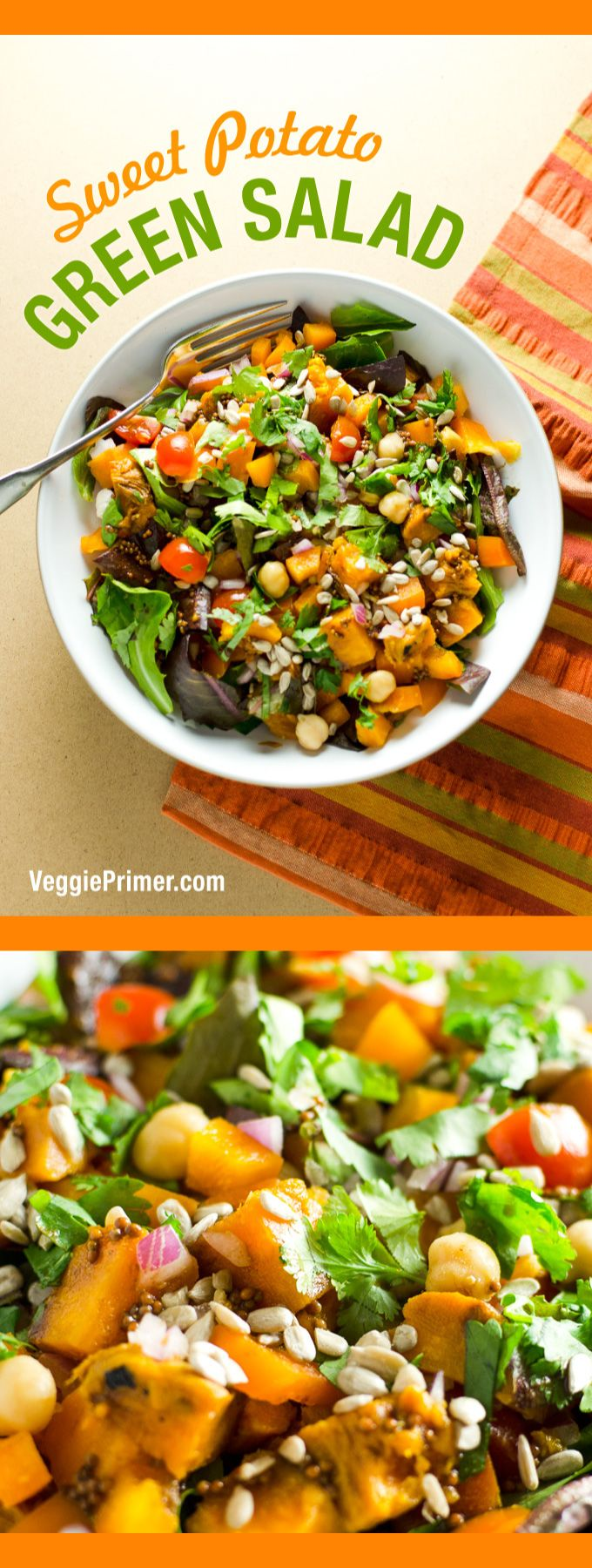 Sweet Potato Green Salad - makes a delicious vegan and gluten free main meal or side dish   VeggiePrimer.com