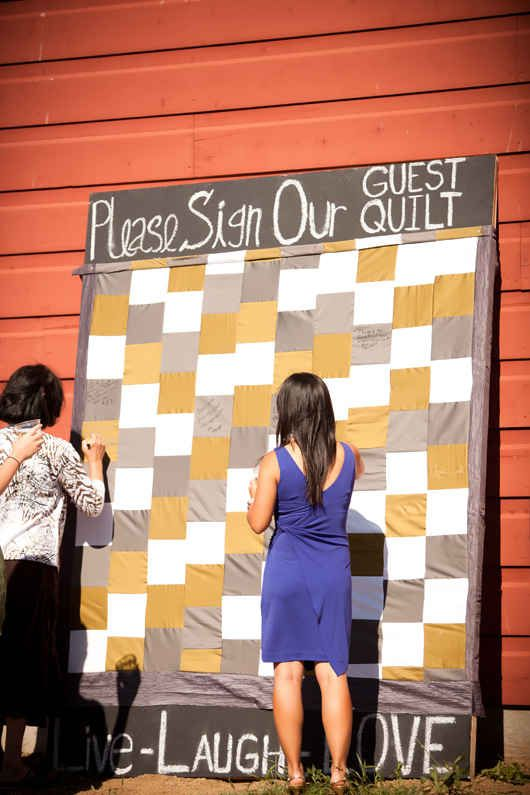 Or ask them to sign a guest quilt. | 42 Lovely Ideas For A Cold-Weather Wedding  With a prettier quilt this would be lovely.