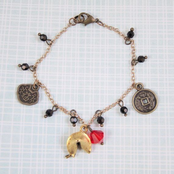 Good Luck Chinese Charm Bracelet with 2 Good Luck Bronze Plated Coins and Gold Fortune Cookie - Lucky Red Swarovski Crystal