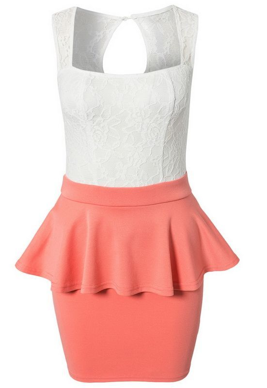 White & Coral lace peplum dress available from Lush - www.lushwear.co.za #dress #coral #peplum #lace #fashion #lushwear
