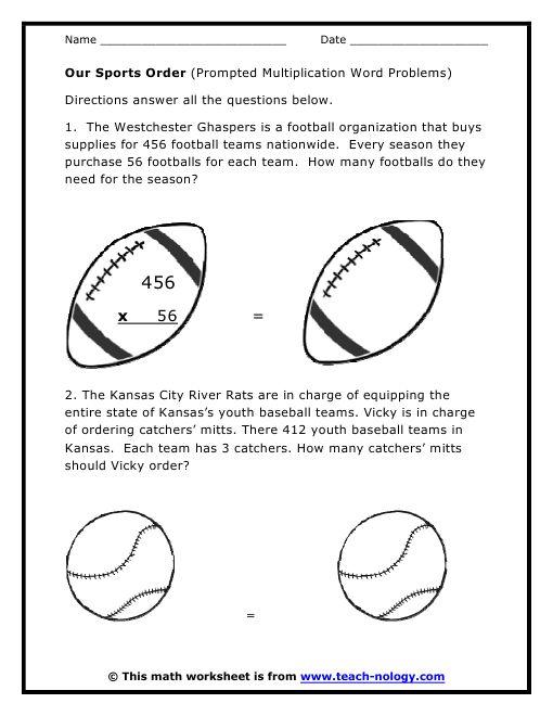 sports word problems multiplication word problem worksheets math basics middle school. Black Bedroom Furniture Sets. Home Design Ideas