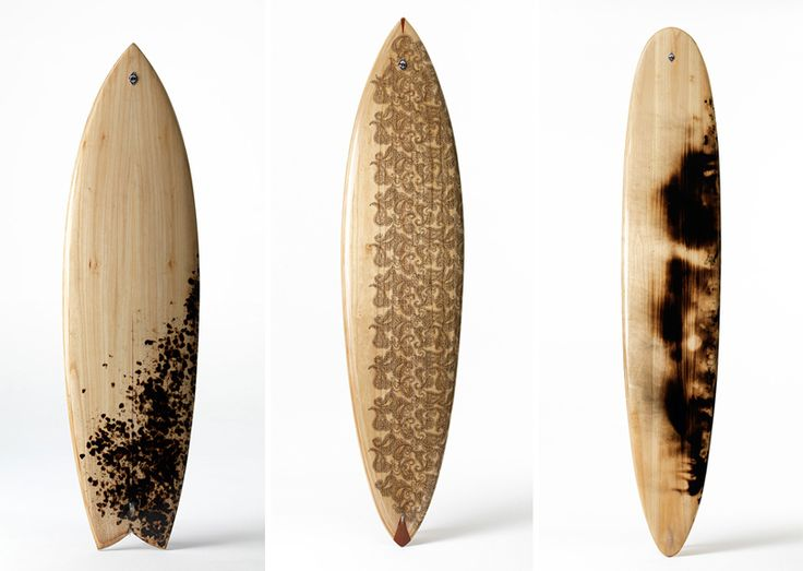 the collection of hollow wooden surfboards reference historical construction methods of the 1920's and 30's in conjunction with contemporary design developments.