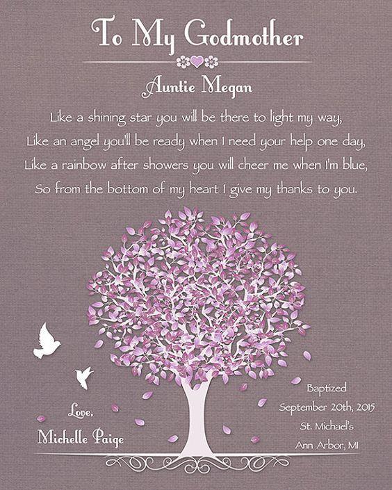Godmother Gift Baptism Gift For Godmother by GoldHousePrints: