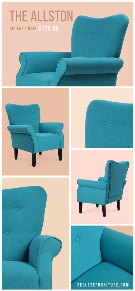 Blue Accent Chair | Traditional Button Tufted Chair | Blue Interior Design Ideas