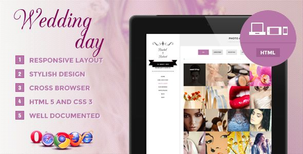 Wedding Day - Responsive HTML Theme. Plan you wedding in a stylish manner.