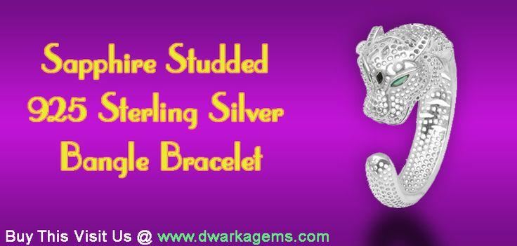 Sapphire Studded 925 Sterling Silver Bangle Bracelet
