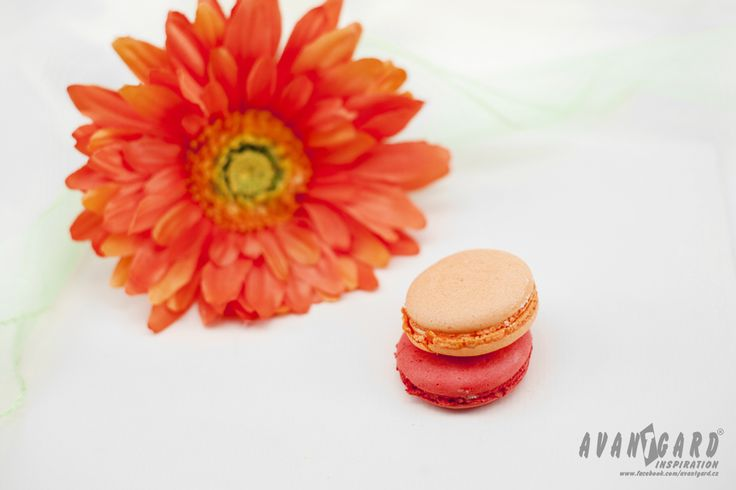 Oranžové makronky a květina   ///   Orange macarons and flower   ///   Orange wedding inspiration