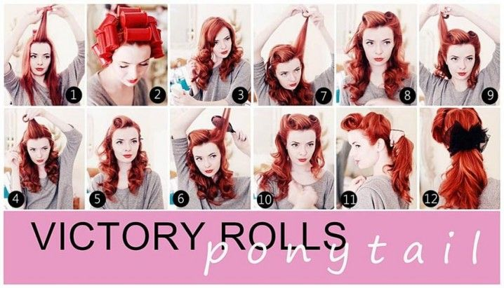 Retro Hairstyle Tutorials You Have To Try - Victory Rolls Ponytail Vintage Hairstyle Tutorial