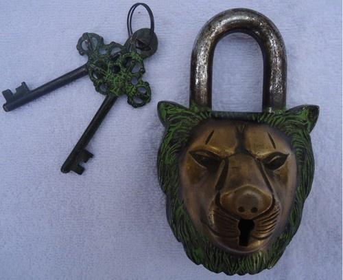 Vintage Antique Style Huge Lion Head Carved Brass Pad Lock