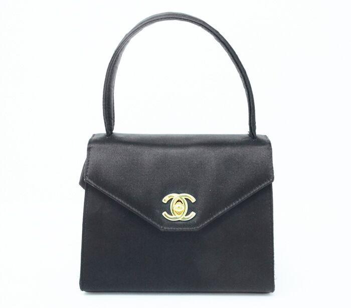 Chanel Vintage Satin Top Handle Flap Bag Chanel Handbags Tote Vintage Chanel Chanel Handbags Black