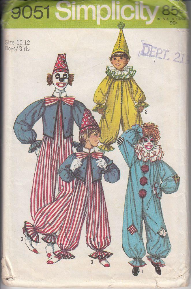 vtg simplicity pattern 9051 halloween clown outfit size 10 12 boy girl uncut - Ebaycom Halloween Costumes