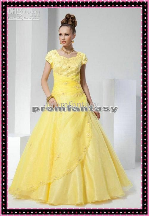 Wholesale Evening Dresses - Buy 2013 Sweetheart Neckline Short Sleeves Beads Appliques Yellow Organza Ball Gown Prom Pageant Dresses, $98.38 | DHgate