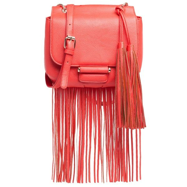Red small shoulder bag with fringes and decorative tassels.