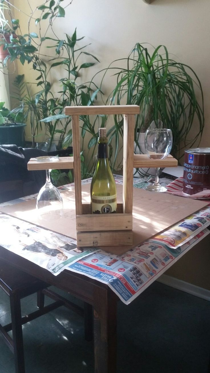 portable two wine glass holer. great for indoor or out make from pallet wood $30.00