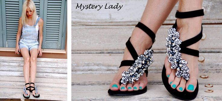 Mystery Lady Sandal! All time classic - Black and White Contrast! Unique! Bonbon Sandals
