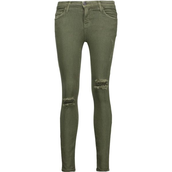 Current/Elliott - The Stiletto Mid-rise Distressed Skinny Jeans ($100) ❤ liked on Polyvore featuring jeans, army green, destructed jeans, distressed jeans, mid rise jeans, army green jeans and destroyed jeans