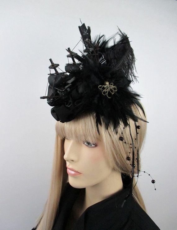Edler Gothic Fascinator schwarz Schiff Headpiece von KopfTraeume