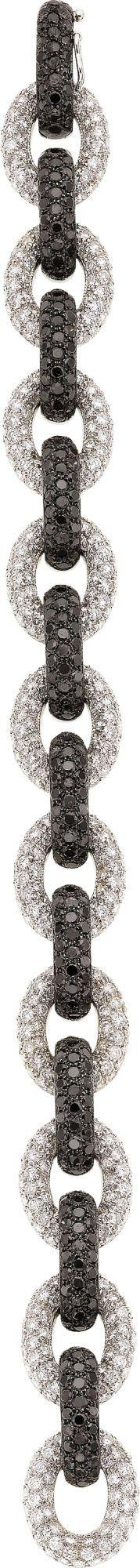 Black and White Diamond, White Gold Bracelet -  by Eli Frei