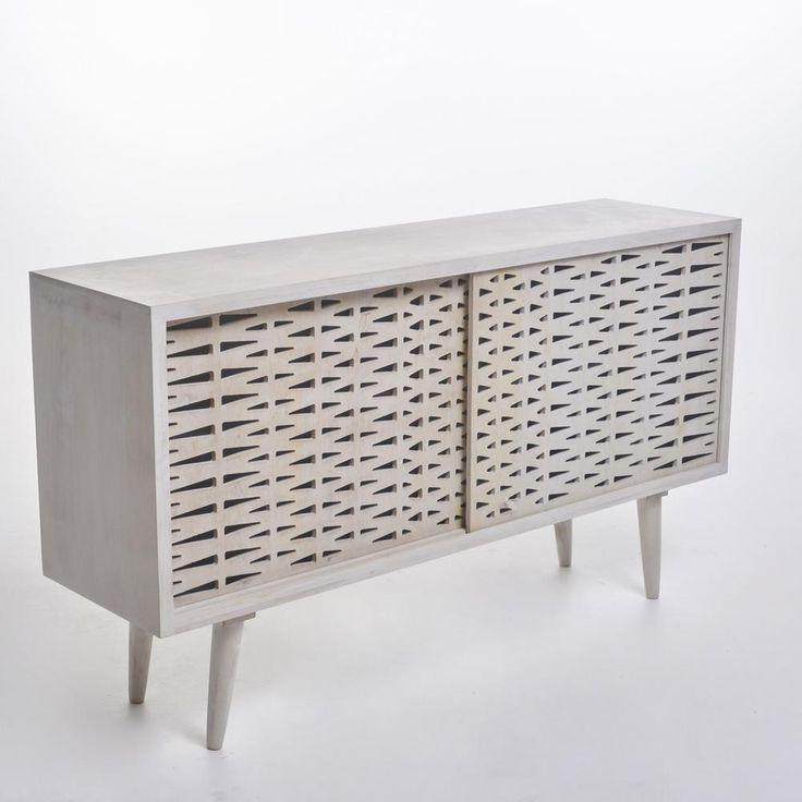 Noble House Gibson Whitewashed Mango Wood Accent Cabinet