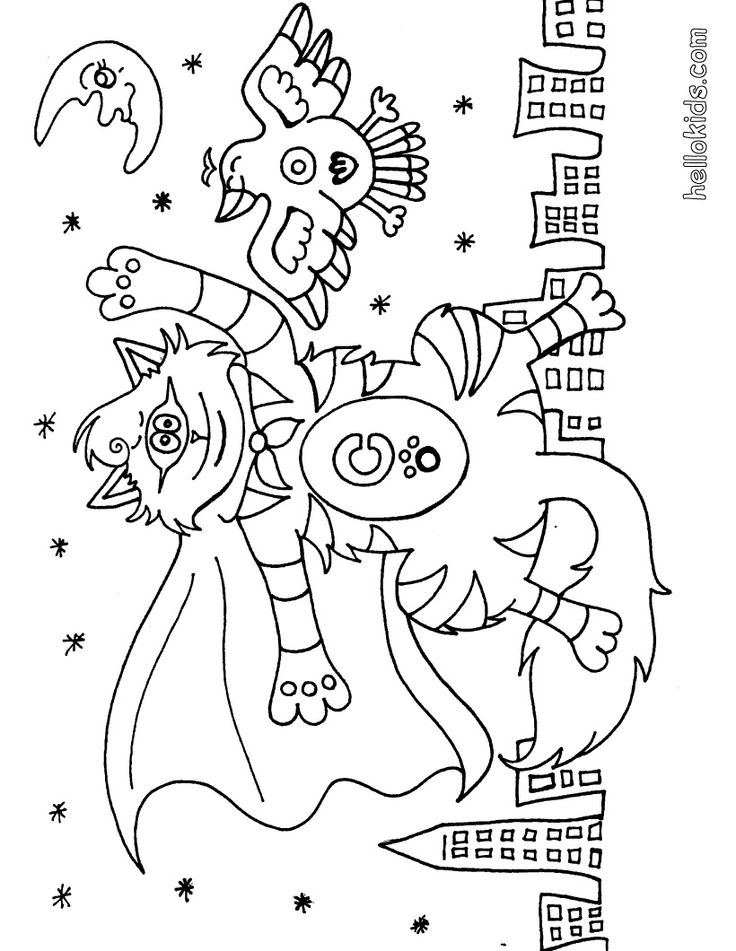 Monsters Costumes Halloween Coloring Book Monsters Costumes