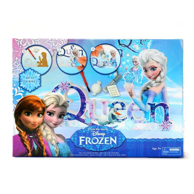 Inclusief glitterlijm, 20 zilveren pailletten, 1 potje witte verf en een kwast. Afmeting: verpakking 23 x 16 cm - Disney Frozen Design your own Words - Love