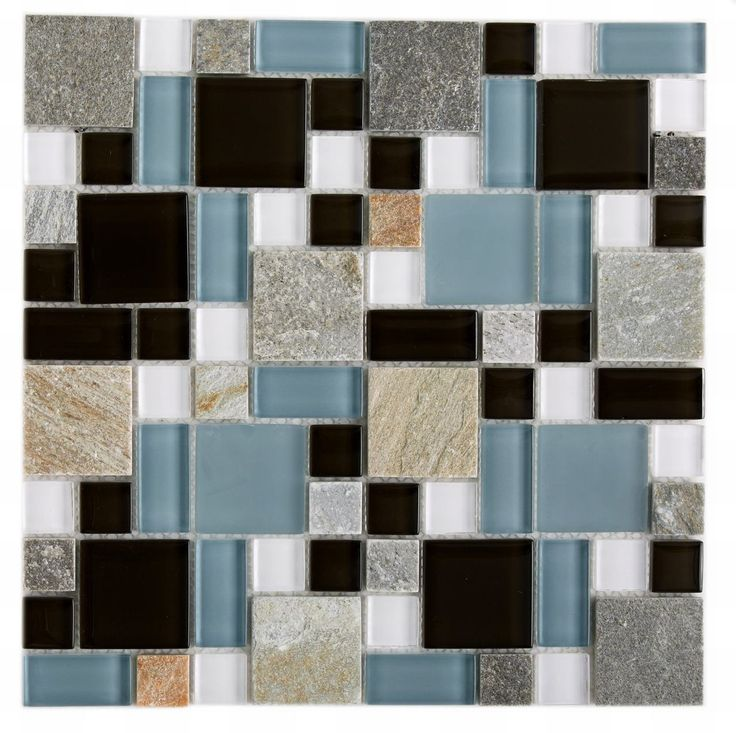 glass stone mosaic tile blue pattern mineral tiles