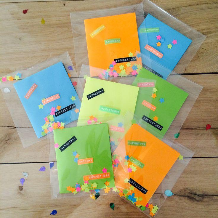 Confetti uitnodiging kinderfeestje! #neon #confetti #uitnodiging #kinderfeestje