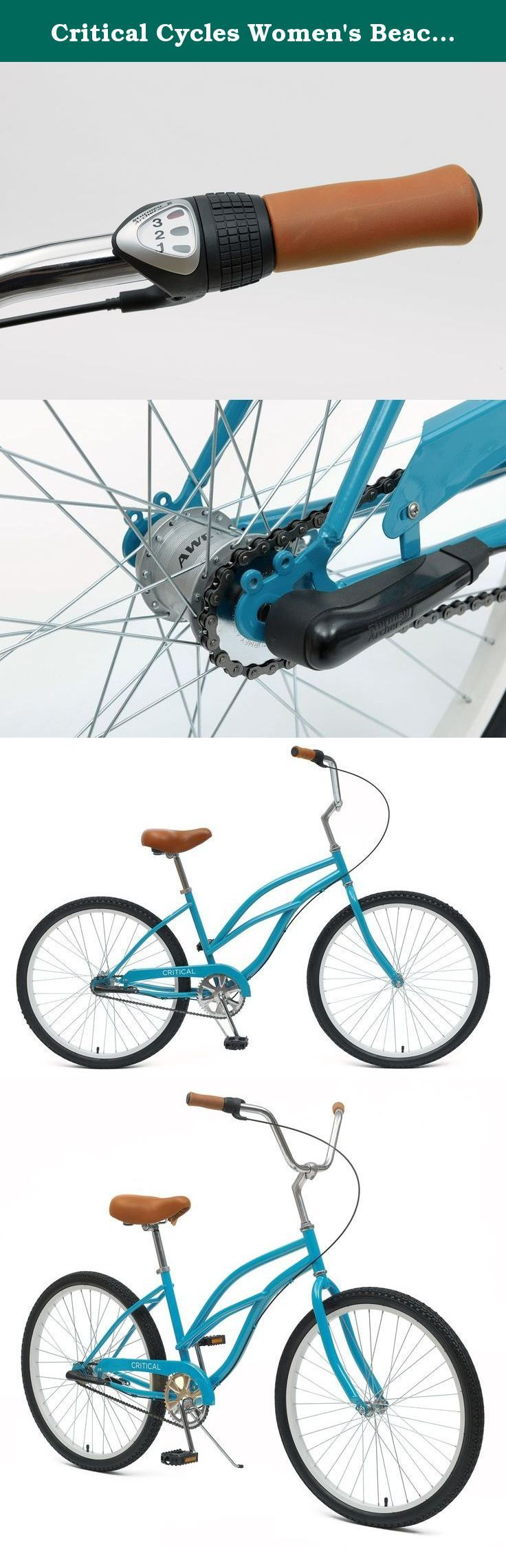 Critical Cycles Women's Beach Cruiser 3-Speed Bike, Turquoise, 16-Inch/One Size. Critical Cycles is cruising into town with a whole new game. Though just as sleek and just as sexy as its predecessor, our three speed beach cruisers are more functional. Ride up hills, down hills, and around hills on this cruiser. Like our single speed cruisers, our three speeders are adorned with light brown synthetic leather grips and a super wide, super comfortable seat. But what sets this cruiser apart…