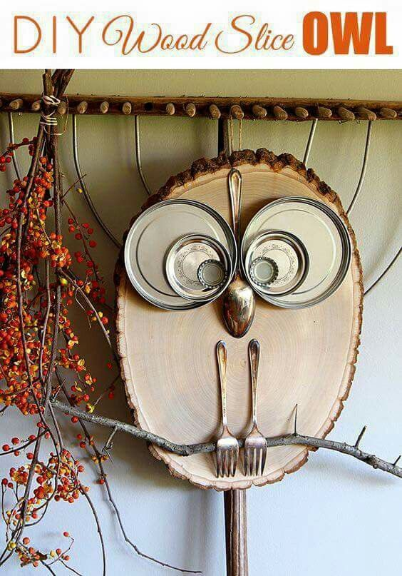 Owl out of a slice of wood...and etc